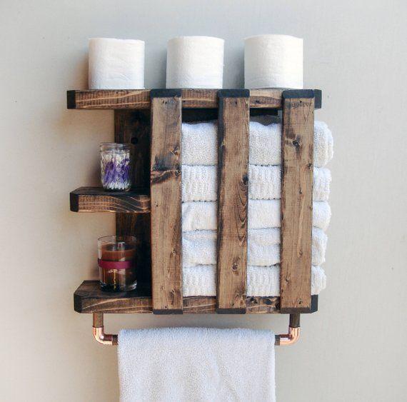 Towel Rack Bathroom Bathroom Shelf With Towel Bar Bathroom Etsy Bathroom Wall Storage Rustic Bathroom Shelves Bathroom Towel Storage