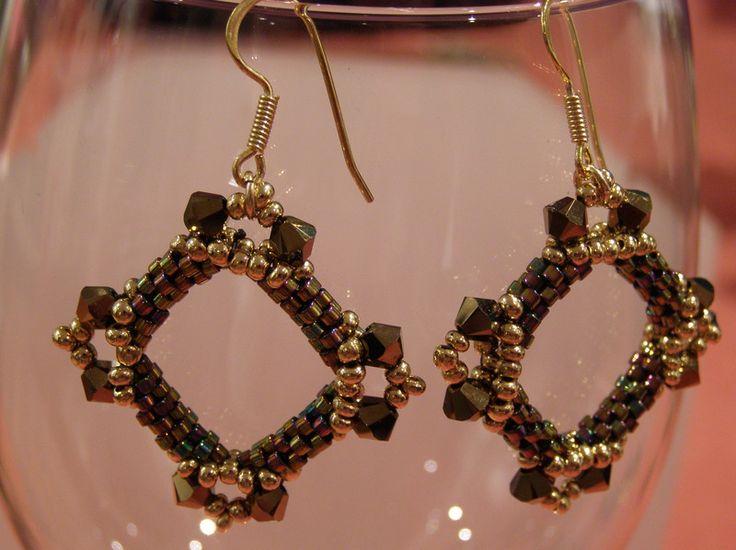 Dangle Earrings – Dark bronze tone square earrings – a unique product by DarkEyedJewels on DaWanda