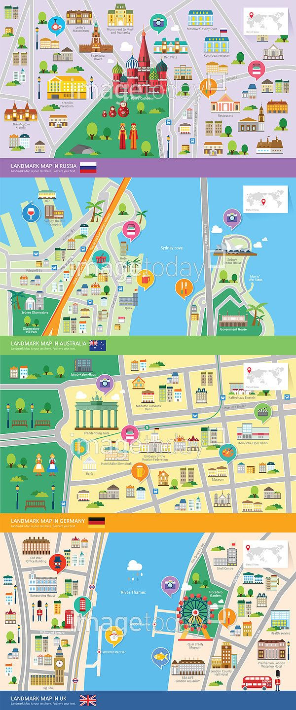 city maps focused on their landmarks  ********** 통로이미지(주)에서 그래픽디자이너 모집중! 자세한 사항은…