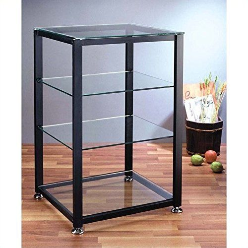 top and bottom tempered glass shelves support up to 150 pounds and middle tempered glass shelves support up to 60 pounds spacing between shelving