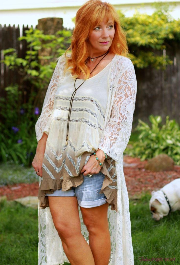 Fashion Fairy Dust style blog: lace duster, tunic top, fringe sandals, denim boyfriend shorts, fringe sandals, wedge sandlas