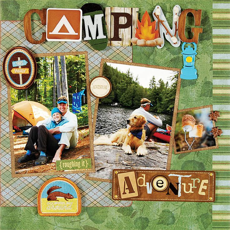 camping scrapbook page layout