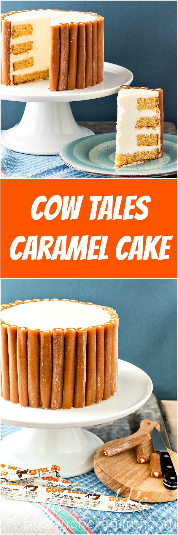 This Cow Tales® Caramel Cake is pure decadence. Four layers of caramel cake with cream between the layers and a core of frosting. Like one big Cow Tales candy surrounded by a bunch of little Cow Tales® candies. Enjoy in small pieces!   pastrychefonline.co