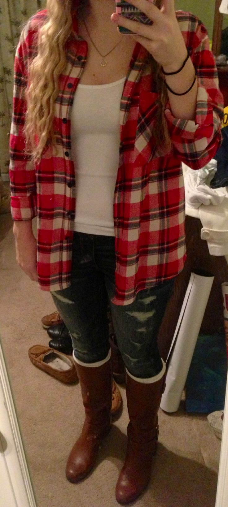 Flannel wear! #red #flannel #shirt #rippedjeans #legwarmers #brown #boots #winter #clothes #fashion