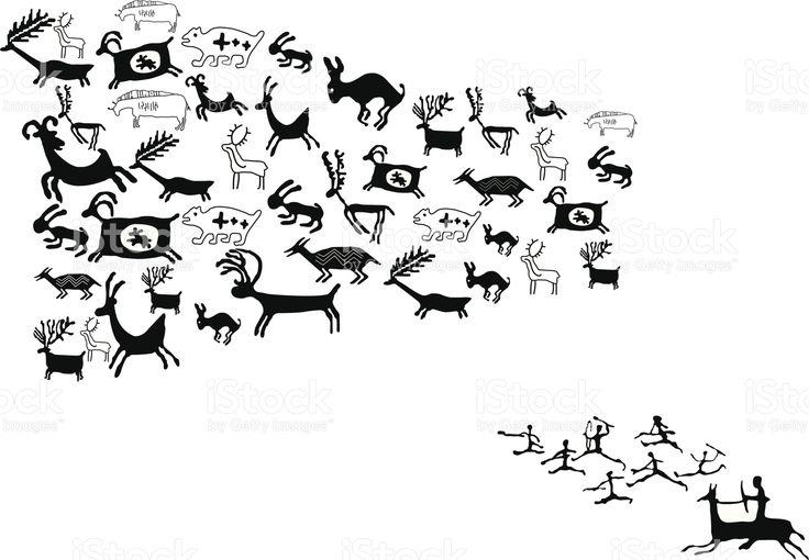 Старинный животное чертежей и символы Сток Вектор Стоковая фотография