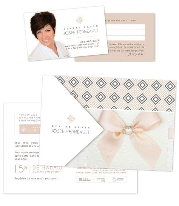 Design carte d'affaire et carte postale anniversaire - Centre Laser Josée Pedneault