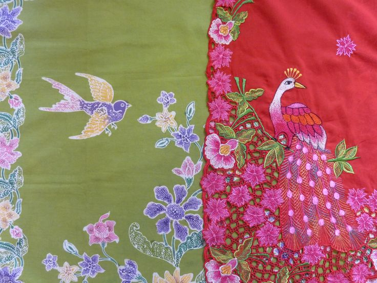 green sarong Bird & Butterfly and red kebaya peacock