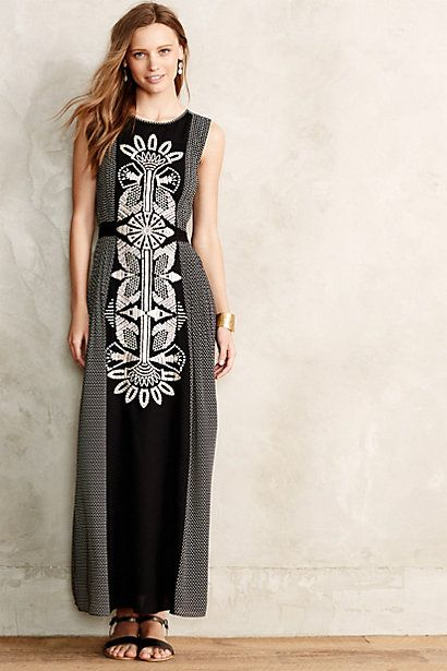 Totem Embroidered Petite Maxi Dress #anthropologie