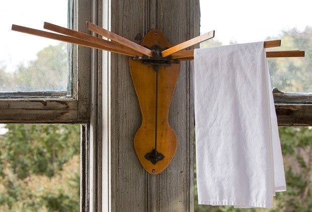 Vintage Inspired Wall Drying Rack - From Antiquefarmhouse.com - http://www.antiquefarmhouse.com/current-sale-events/industrial-decor-solutions/vintage-inspired-wall-drying-rack.html