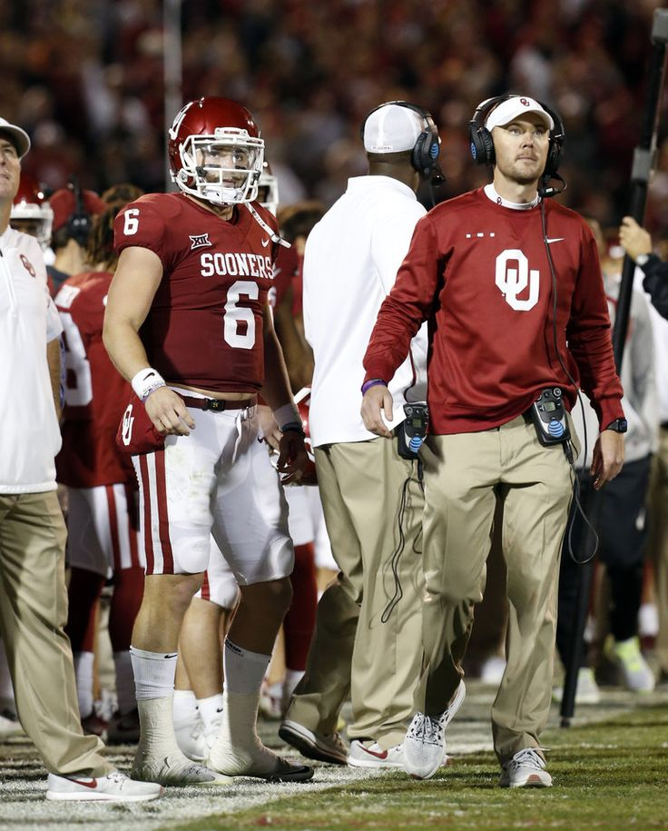 Oklahoma's Baker Mayfield (6) and Oklahoma head coach Lincoln Riley wait for a review during a college football game between the University of Oklahoma Sooners (OU) and the TCU Horned Frogs at Gaylord Family-Oklahoma Memorial Stadium in Norman, Okla., on Saturday, Nov. 11, 2017. Photo by Steve Sisney, The Oklahoman