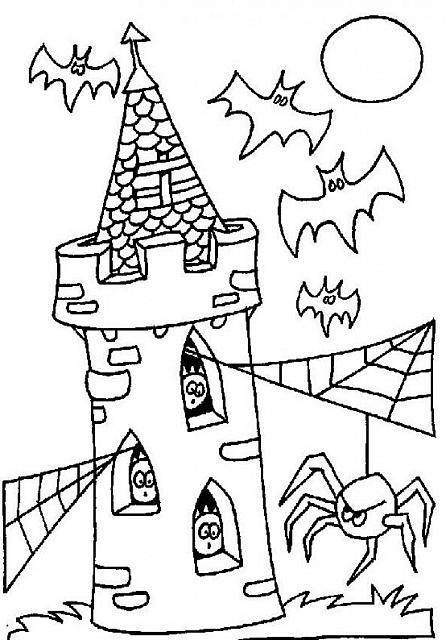 Ragni e pipistrelli nella torre disegno da colorare Halloween ... f7fda9634ff6