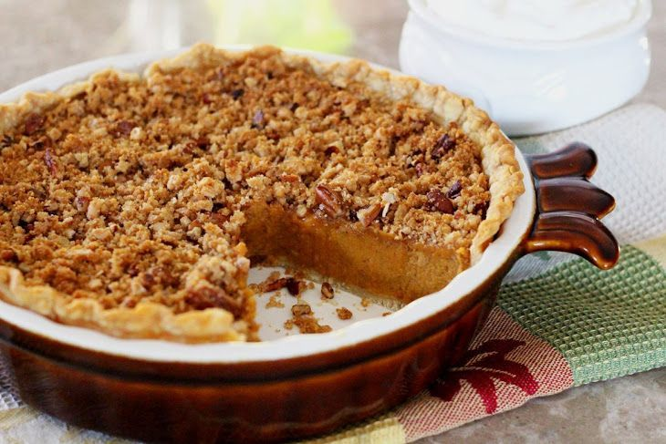 Sweet Potato Pie with a Pecan-Crunch Streusel Recipe Desserts with refrigerated piecrusts, sweet potatoes, granulated sugar, brown sugar, heavy cream, large eggs, vanilla extract, pumpkin pie spice, salt, vanilla wafer crumbs, granulated sugar, ground cinnamon, butter, chopped pecans, English toffee bits, cream sweeten whip