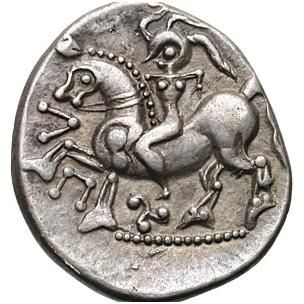 Female rider in a Celtic coin- possibly Boudica (I'd have thought Rigantona)