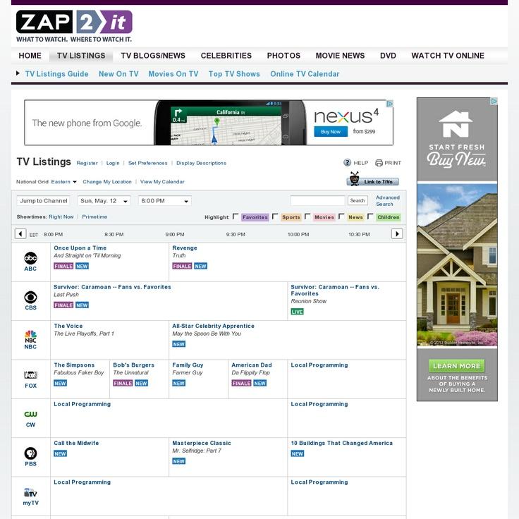 Zap2it TV Listings Website