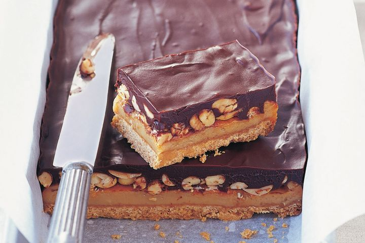 Chocolate, caramel and peanut slice