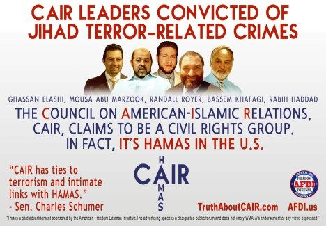 The ad depicts several CAIR officials who have been arrested and convicted of terror-related crimes. CAIR is an unindicted co-conspirator in a Hamas terror funding case — so named by the Justice Department during the trial of the Islamic charity known as the Holy Land Foundation.