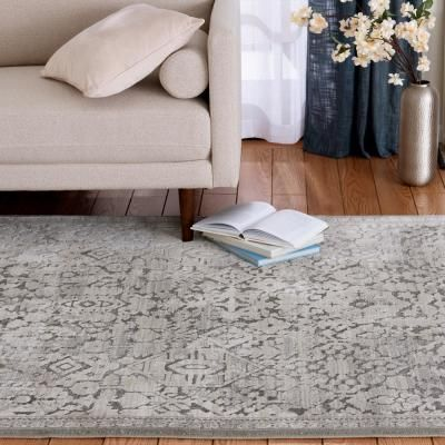 Skyline Gray 5 Ft X 7 Ft Floral Area Rug In 2020 Rugs Home Depot Rugs Area Rugs