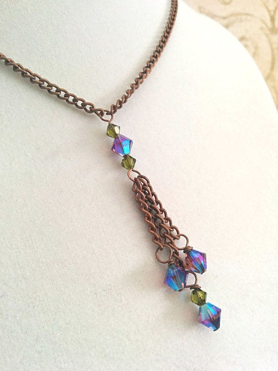The Skyler- Amethyst AB2X and Olivine Green Swarovski Crystal Boho Lariat Necklace in Cooper by NiteDreamerDesigns