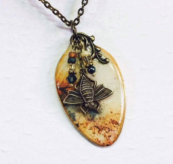 Flattened Spoon Necklace, Mixed Media, Brass Bee, Grunge Background, Steampunk Jewelry