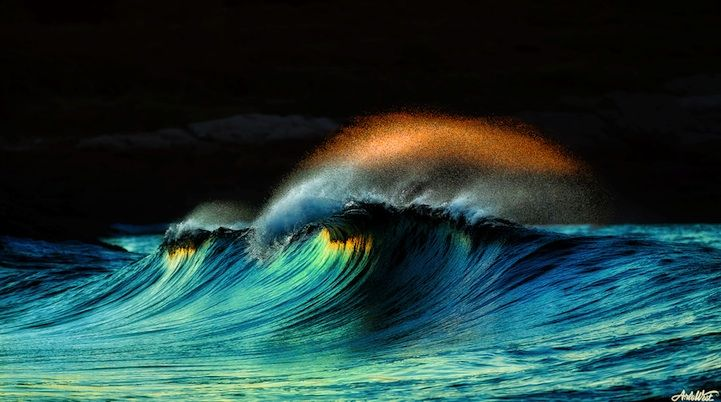 Photographer Arlo West calls it a once-in-a-lifetime shot. One very early morning, off the coast of Maine, West took this amazing photo of a wave breaking as a magnificent crown of water sprayed over it. Not only was his sense of timing perfect, the way he highlighted all the different colors made the photo seem less like a picture and more like a painting.