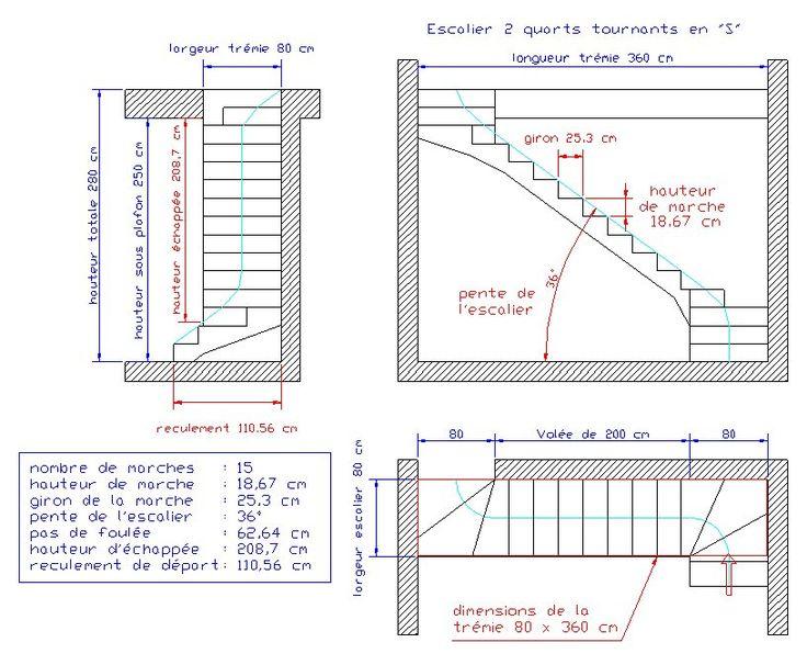 Calcul d'un escalier multi-volées