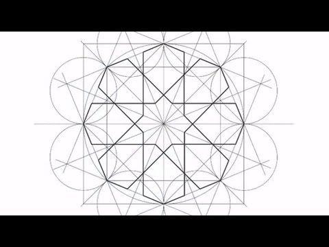 How to draw Islamic geometry - full tutorial - 8 fold Rosette