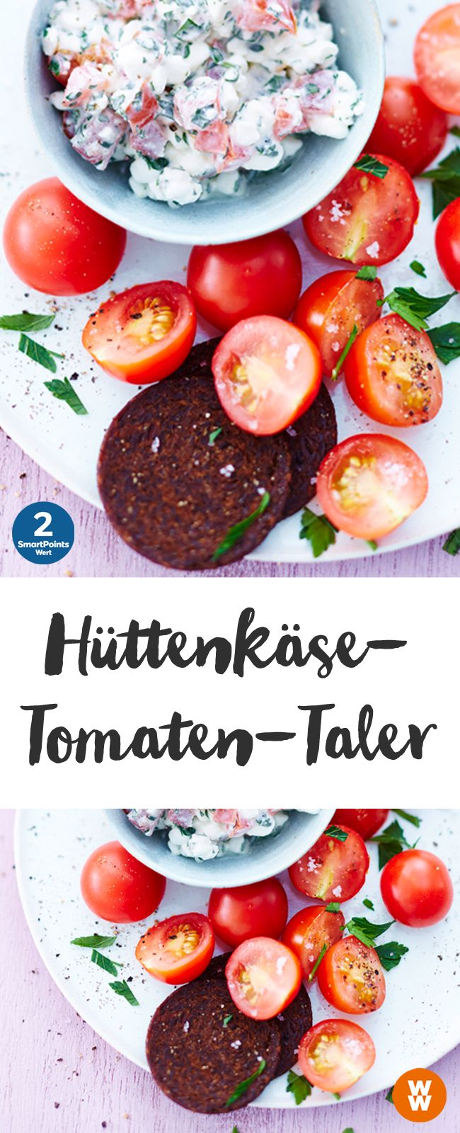 Hüttenkäse-Tomaten-Taler | 1 Portion/2 SmartPoints, Weight Watchers, einfach und schnell fertig in 5 min.
