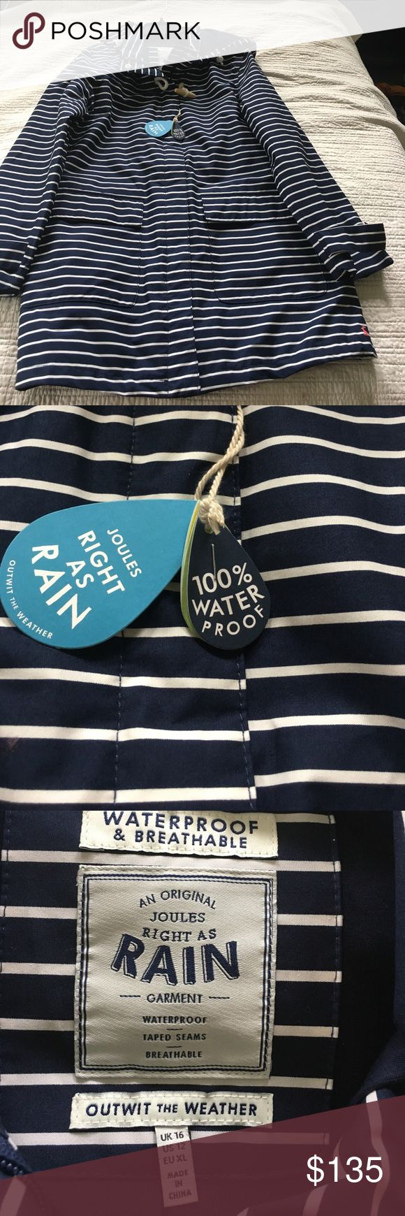 Ladies NWT Joules rain ☔️ coat Ladies NWT Joules hooded, waterProof and breathable rain jacket. Navy blue and white stripe zip up and fun nautical rope ties.  Navy blue and white stripe.  US size 12.  Never worn Joules Jackets & Coats Trench Coats