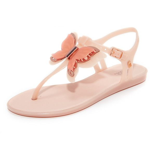 Melissa Solar Fly Sandals (246.680 COP) ❤ liked on Polyvore featuring shoes, sandals, melissa shoes, metallic sandals, butterfly shoes, butterfly sandals and rubber sole sandals