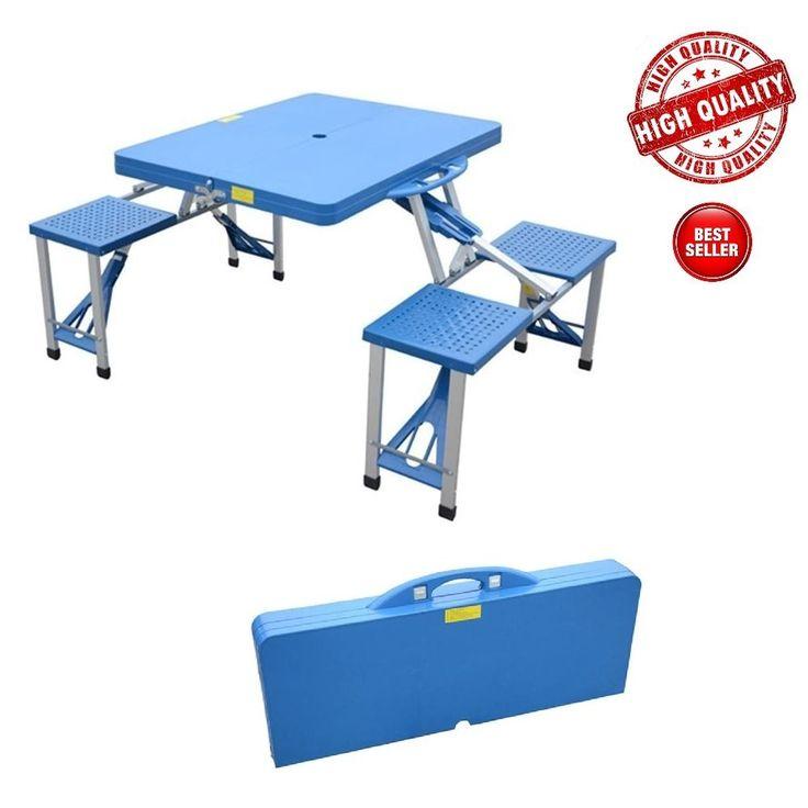 Folding Picnic Table Portable Camping Garden 4 Seats Camp Suitcase Party Blue #httpswwwaosomcommediabrandlogooutsunnypng