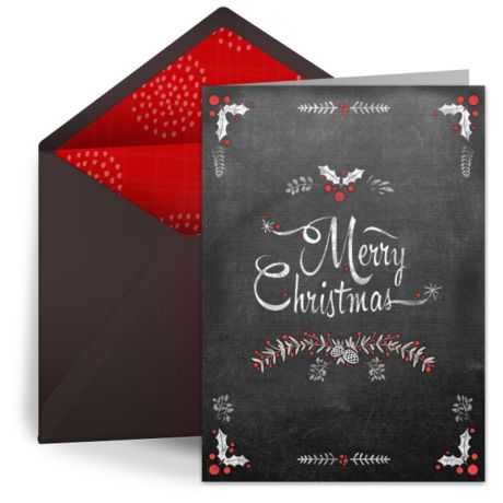 We Canu0027t Get Enough Of This Festive Christmas Card With A Gorgeous  Chalkboard Design