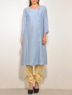 Blue-Gold Chanderi Angrakha