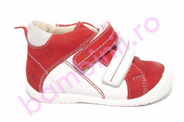 Ghete copii hokide 319 rosu alb 18-24 . Incaltaminte din piele pentru copii si adulti - bambinii.ro