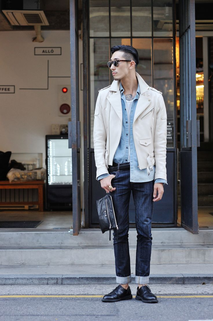 white leather jacket, chambray, denim, sunglasses