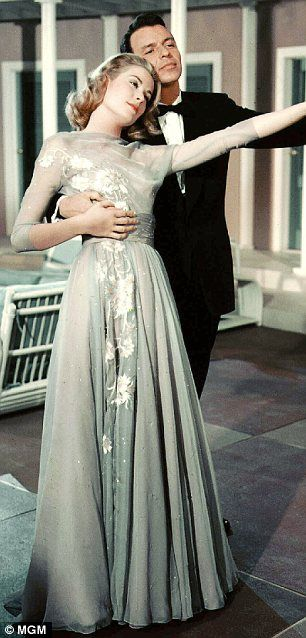 Grace Kelly and Frank Sinatra in High Society (1956) the engagement dress #CostumeDesign by Helen Rose.