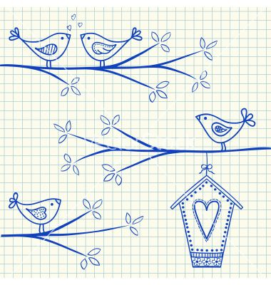 Birdhouse birds doodle squared paper vector by kytalpa on VectorStock®