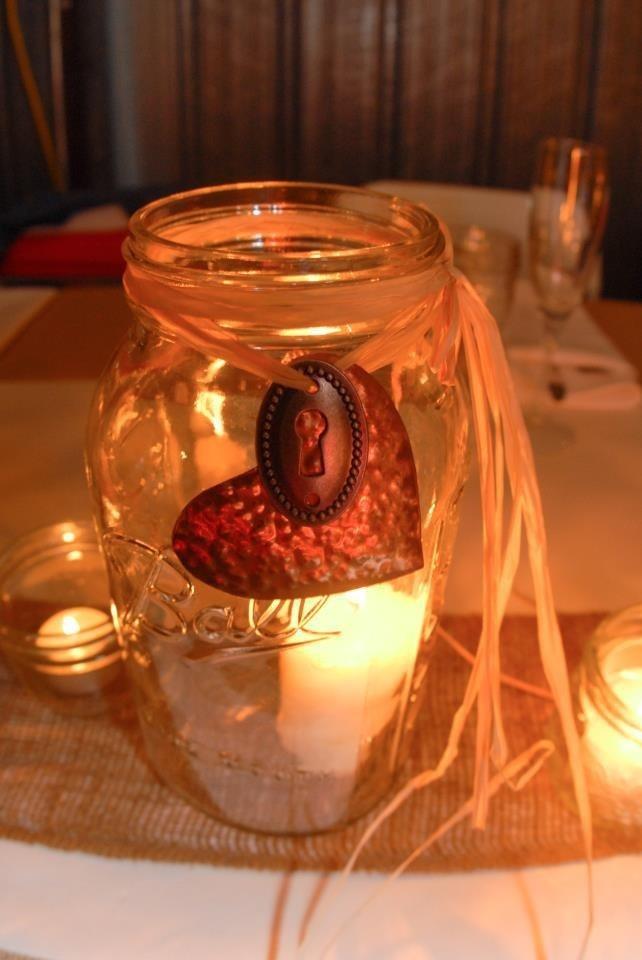 Country wedding mason jar decoration