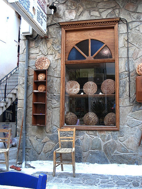 Bakery window in Koroni, Peloponnese, Greece- think this is my cousins