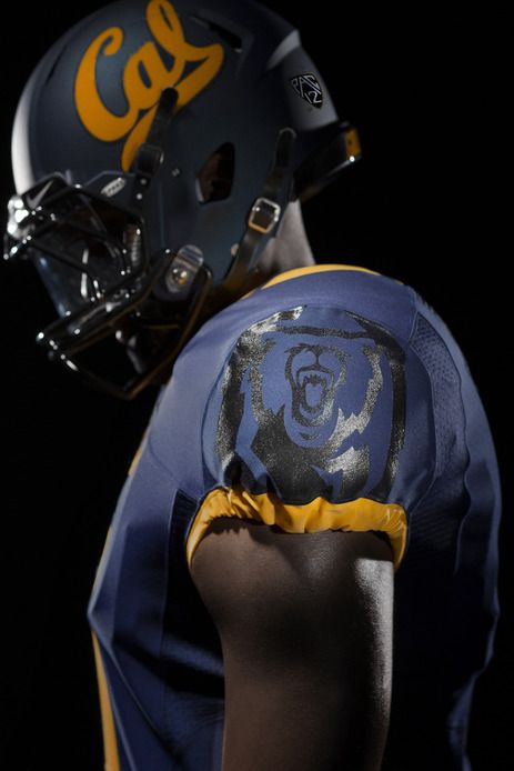 "NIKE, Inc. - University of California (""Cal"") Golden Bears football uniforms for 2013 - 2014 season -- new bear logo on uni sleeves"