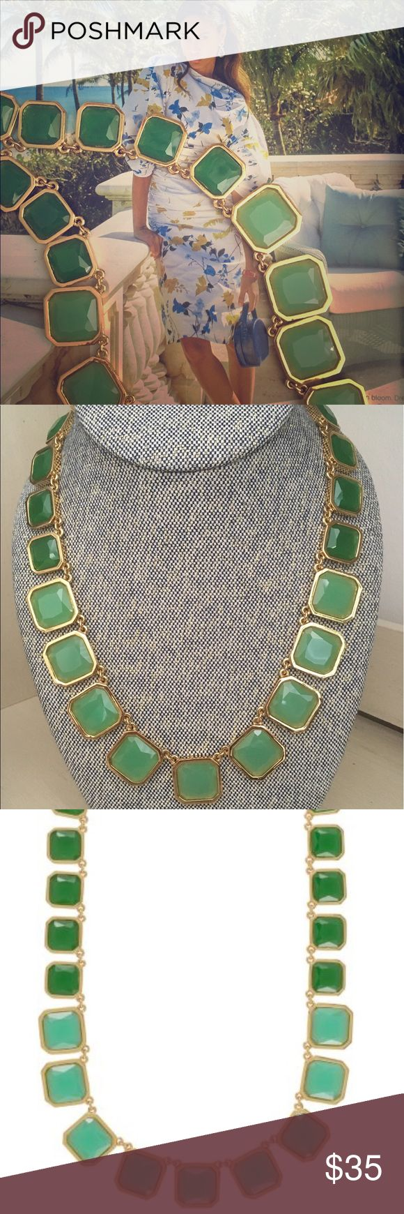 """Kate Spade Frame of Mind graduated necklace 14k yellow gold plated . 19""""L/4""""extender . Glossy enamel green/sea foam . Summer -Perfect for wearing with whites and nude clothing for extra statement . In winter - pair it up with darker tones for more drama to the outfit . Gently worn only 3 times . Feel free to make me an offer :) kate spade Jewelry Necklaces"""