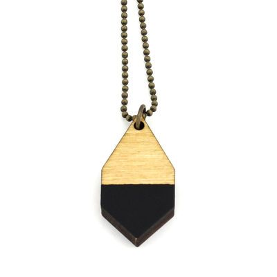 DIAMANTE small necklace in black/ light wood