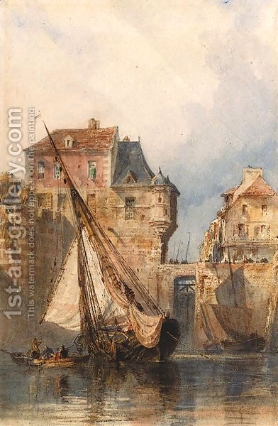 """""""Boats at Honfleur"""" by  Edward William Cooke Oil Painting"""