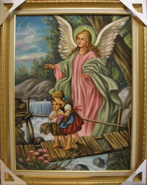 Ангел -хранитель с детьми (холст,масло)-художник Ядвига Сенько