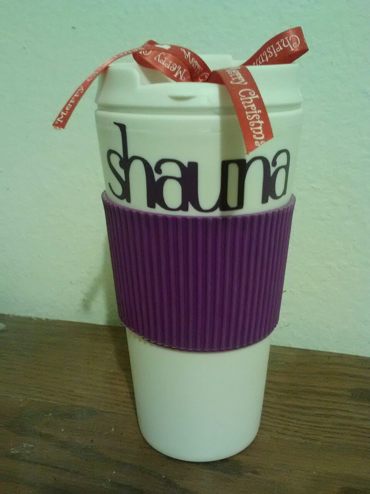 Personalized coffee cup; easy, inexpensive gift for coworkers! Coffee cup from Dollar Tree: $1.00, vinyl on-hand cut with my #Cricut using Plantin Schoolbook font, ribbon: $1. ~ Christina's Creations