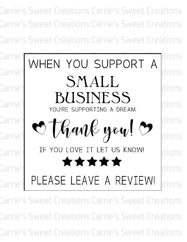 Small Business Review Card Printable Thank You For Supporting Etsy Support Small Business Quotes Small Business Quotes Small Business Cards