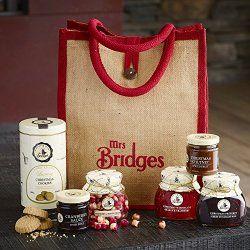 Mrs Bridges Preserves & Biscuits Christmas Gift Hamper Jute Bag