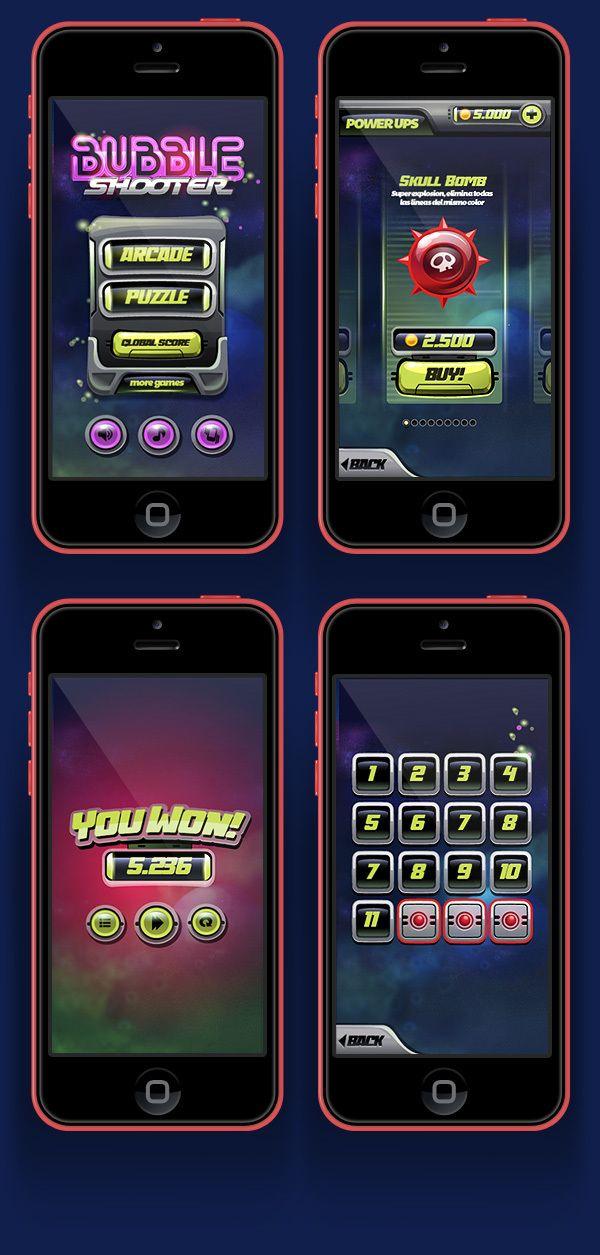 Bubble Shooter . Mobile Game by Gabriel Mourelle, via Behance