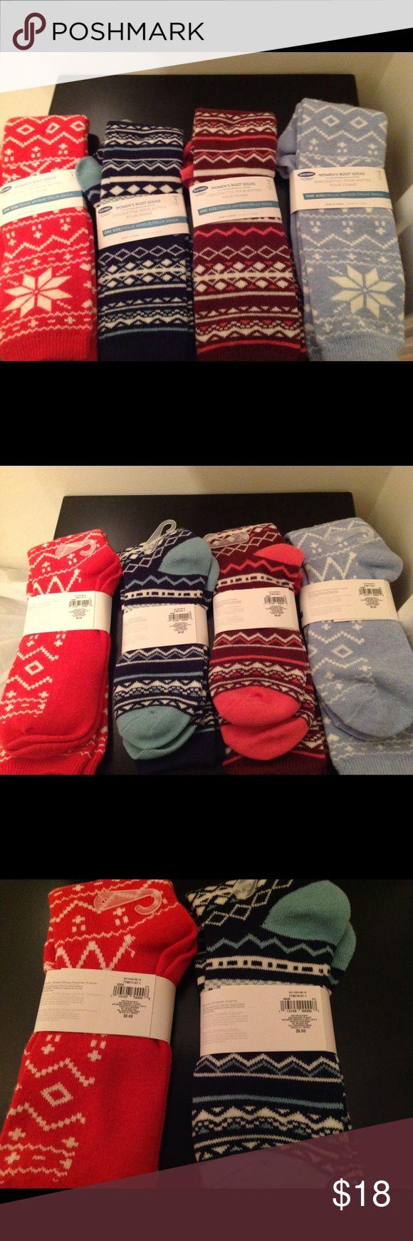 New Old Navy Women's boot socks NEW - 4 pair of socks for $18.  Old Navy Women's boot socks.  Warm and comfortable in super cute colors.  Each pair of socks originally $9 a pair. Old Navy Accessories Hosiery & Socks