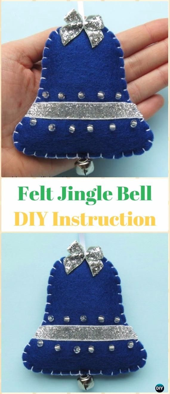 DIY Felt Jingle Bell Ornament Instructions - DIY Felt Christmas Ornament Craft Projects [Picture Instructions]