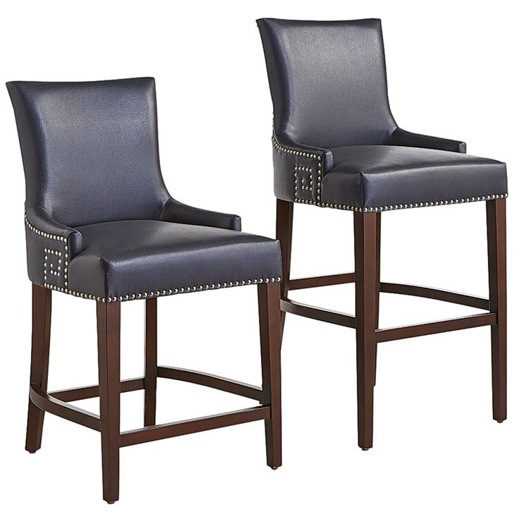 Adelle Bar & Counter Stools Navy Faux Leather Bar